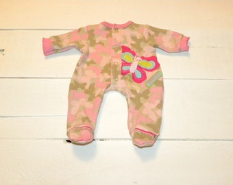 Pink and Green Butterfly Patterend Footed Sleeper - 14 - 15 inch doll clothes