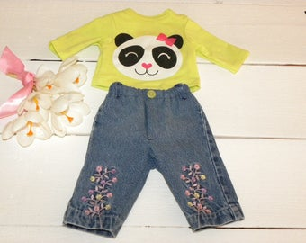 Denim Jeans and Apple Green Panda Tshirt - 16 - 17 inch doll clothes