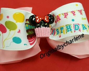 Boutique Happy Birthday Minnie Cupcake Hairbow