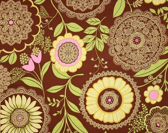 Amy Butler Lacework Fabric in Brown