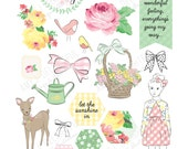 Printable SPRING PLANNER die cuts! - Digital File Instant Download- Happy Planner, ephemera, pastels, collage, scrapbooking, bando, roses