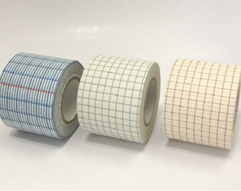 Classiky Grid Japanese Washi Tape / Blue, Green and Brown Grid 45mm for journaling, packaging, collage, scrapbooking
