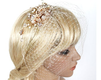 Pearl and crytal Gold hair comb with detachable birdcage veil  (2 items) for wedding