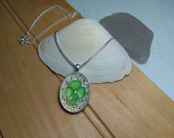 Sea Glass Jewelry, Necklace, Art Mosaic, Irish, Celtic, Green Shamrock, Clover, Silver Chain, Beach Jewelry, Maine Made