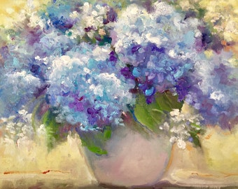 Flower Oil Painting, Still Life, Blue Hydrangea Painting, Garden Art, Original Oil Painting, by Tina Wassel Keck, Oil on Canvas on Panel