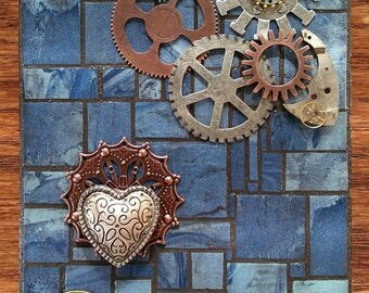 Steampunk Mosaic with Heart, Key and Gears