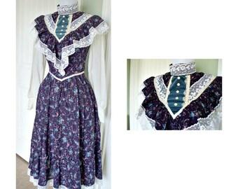 Vintage 70s Gunne Sax peasant hippie boho dress-vintage dress lace and ruffles