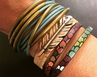 Mermaid Jewelry - Leather Wrap Bracelet - Mermaid Scale Bracelet - Single Strand Double Wrap Leather Bracelet