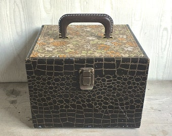 Vintage Sewing Box Faux Alligator And Tapestry Top Train Case Makeup Kit