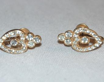 Vintage / Sparkling / Clear / Rhinestone / Earrings / Hearts / Screw Back / old jewelry