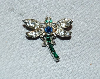 Vintage / Emerald / Blue / Clear / Dragonfly / Brooch / Rhinestone / Bee / Wasp / Bug / Insect  /  old / jewelry / jewellery