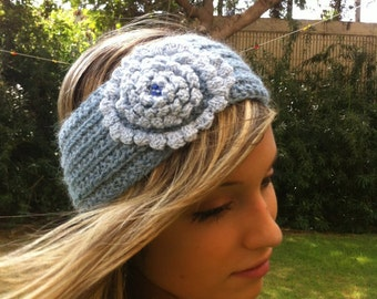 Headband  knitting with flower