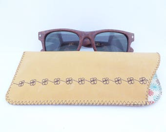 Leather Sunglasses Case / Eyeglass Leather Case / Leather Pouch / Mustard Leather and Brown Embroidery