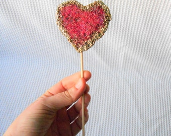 Heart Cake topper Glass Bead Pink Gold Wedding Engagemnet anniversary
