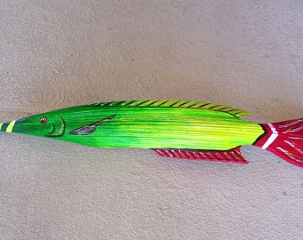 Tropical Fish Carved from Queen Palm Seed Pod 39 Inches Long!! Palm Frond