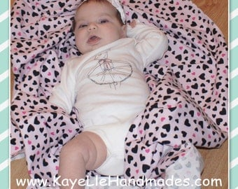 XL Receiving / Swaddle Blanket / Flannel Swaddle Blanket (Pink with Black Hearts) Customizable