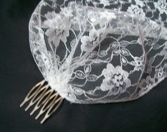 Vintage Gatsby 1920s Style Ivory Lace Birdcage Bandeau Brides Wedding Bridal Veil Head Boho Scarf- Made to Order