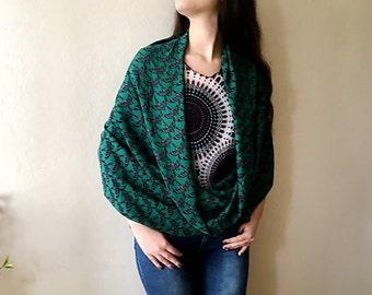 Animal scarf, Black bird print scarf, Emerald green scarf, spring scarf, Swallow print infinity scarf circle scarf