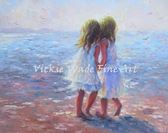 Two Beach Girls ORIGINAL Painting, 14X18 canvas, two sisters beach, beach children, beach decor, light blue beach art, Vickie Wade Art.