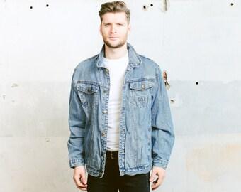 Vintage Mens Jeans Jacket / Light Wash Denim by BetaMenswear