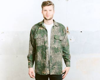 Camouflage Jacket . Shirt Vintage 90s Men's Forest Camo Green Shirt Moleskin Shirt Military Army Jacket Hunting Outerwear . size Medium