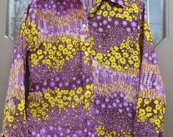 1960S MOD hippie   colorful  flowers print  pointed collar womens  blouse    new vintage sz   32