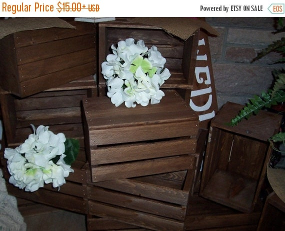 On sale wedding crates in wood box centerpieces by