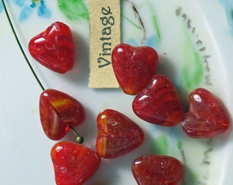 Vintage Heart beads,Red Hearts,Glass heart beads,Czech heart beads,Marble Valentines 9x10mm Ruby puffy (27E)