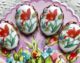Artsy Cabochons, Red Rose,Vintage 11x15mm Cabochons, Red Rose connectors,Flowers cabochons, garden Connectors,Cottage Chic, NOS #1252 i
