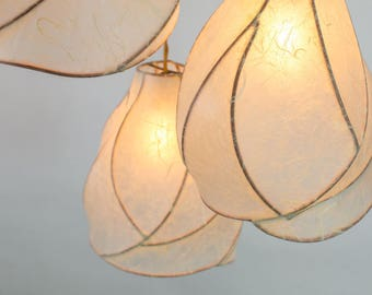 Chandelier Lighting - Sculptural Paper Lanterns - Copper and Cream Handmade Paper - Cascade Chandelier - Statement Lighting