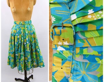 Early 1960s Colorful Floral Print Cotton Skirt - Full Cotton Skirt // Deadstock Hawaiian Print // Abstract Floral Aqua Yellow Green