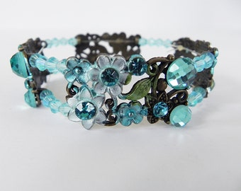 Stretch Bracelet Victorian Style Steampunk Bracelet in Enameled Brass and Aqua Crystals