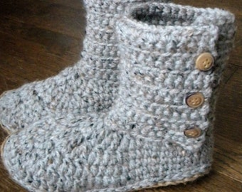 Ribbed Boot Slippers Crochet Pattern - (Immediate PDF Download. Permission to sell finished items)