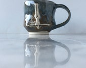 Ceramic Mug Goddess Art Cup Figurine Nude Bas Relief Sculpture Teacup Open Heart Center Mature Skinny Dip
