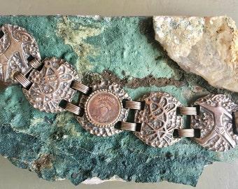 Early Israel Coin Bracelet 1949 Aluminum Linked Panels Abstract Dimensional Design Milk & Honey Judaic History Wonderful Mid Mod Souvenir