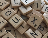 100 assorted vintage Scrabble tiles