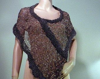 PONCHO/CAPLET/HOODIE - Wearable Fiber Art, Feminine and Versatile, Loosely Knitted, Italian Designer Top Quality Melange