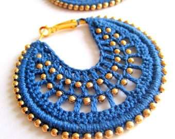 Crocheted hoops in Dusty Blue and bronze color beads