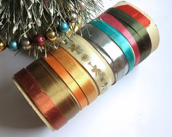 CHRISTMAS Ribbon Roll - Vintage - Angels with Bugles- Pink Satin- Shiny Silver- Gift Wrap- Wrapping Presents- Repurpose- Craft Decor-