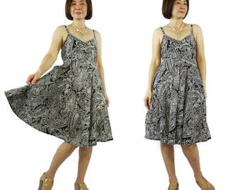 A Little More Love...Boho Elegant Chic White Floral Printed Black Light Cotton Dress Party Dress With Back Elastic