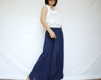 Summer Vacation - Boho Funky Dark Navy Blue Light Cotton Double Layer Wide Legs Pants Size8 To Size16