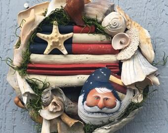 Sea shell driftwood flag Uncle Sam Santa beach welcome wreath quahog clam