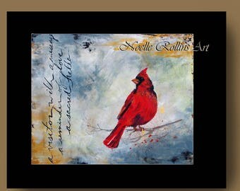 Cardinal Messenger wall art matted artwork print partners large statement piece accent signs from heaven sacred hellos