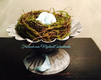 Spring Birds nest in rustic metal compote with Robins eggs