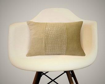 Croc Textured Linen Lumbar Pillow Cover, Linen Pillows, Animal Skin Pillows, Exotic Pillows, Kidney Pillows,  Modern Cushions, Modern Decor