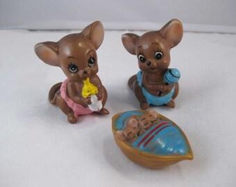 Vintage Ceramic Josef Originals Mouse Village Figurine Baby Mice Set Of 3