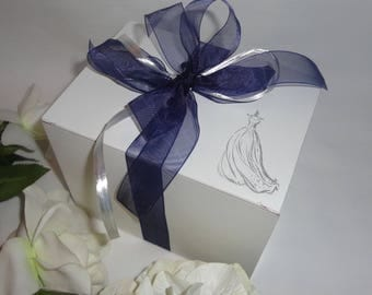 ORNAMENT GIFT Boxes, White Gift Box, Mug Gift Boxes, Wine Glass Gift Wrap, PICK Your Weding Design & Ribbon Color, Mason Jar Box