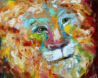 Lion painting original oil abstract palette knife impressionism on canvas fine art by Karen Tarlton