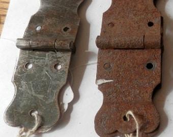 pair (2) antique original trunk hinges