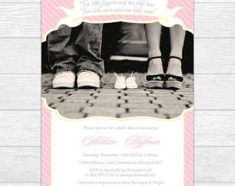 Pink Stripes Baby Girl Shower Invitation with Photo, Personalized Pink & Yellow Baby Shower Invitation, Gender Reveal Baby Shower Invite